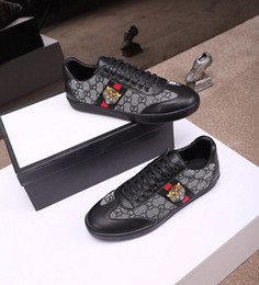Ostrich Fur Dresses Australia - 2019 Designer Shoes Luxury Embroidered White Tiger Bee Snake Shoes Genuine Leather Designer Sneaker Mens Women Dress Casual Shoes