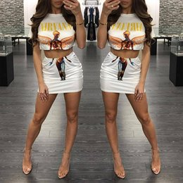 Wholesale Women Summer Cartoon Print Two Piece Set Short Sleeve T Shirt Crop Top And Skirt Sexy Piece Set Women Mini Dresses Suits
