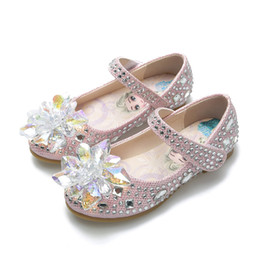 $enCountryForm.capitalKeyWord Australia - Cinderella crystals ash shoes baby girls leather shoe au flower girl sparkly shoes for wedding formal occasions gift for kids
