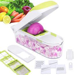 $enCountryForm.capitalKeyWord Australia - Multifunction Quick Home & Garden Dicer Stainless Steel Vegetable Chopper Slicer Cutter Potato Onion Chopper With Container ZJ0606