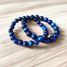 Contas de Olho de Tigre azul Strand Pulseiras Pedra Natural Rodada Beads Elasticidade Corda Homens Mulheres Pulseira Acessórios de Moda Jóias em Promoção