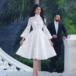Elegant Knee Lace Evening Dresses Australia - High Neck 2019 Elegant Prom dresses Beads Lace Appliques Long Sleeves Knee Length evening gowns formal dresses homecoming dresses