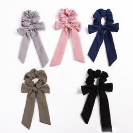 $enCountryForm.capitalKeyWord Australia - Hair Bows Scrunchies Ponytail Holder Women Hair Accessories Elastic Bands Bowknot Scrunchy Streamers Fashion Ribbon Hair Ring 50pcs