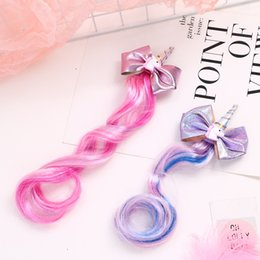 Bowknot wig online shopping - Unicorn Horn Hair Bows for Girls Hair Clips with Long Wig Gilded Bowknot Hairpin Barrettes Kids Hair Accessories