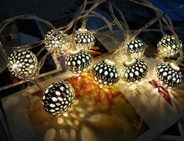 $enCountryForm.capitalKeyWord UK - Unique Morocco Style Ball LED String Lights Battery Operated Evening Light for Christmas Wedding Restaurant Hotel Decoration