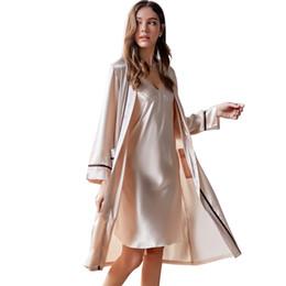 35fd6e8afd Xifenni Robe Sets Female Brand Spring New Sexy Silk Sling Nightdress  Two-Piece Summer Ice Silk Bathrobes Sleepwear Woman X9201