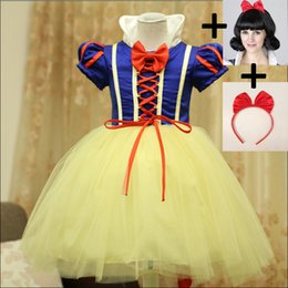 White Tutus For Girls Australia - 2018 Snow white Cosplay costumes for girls Girls Party Princess Dress Child Tulle Dress Girl Tutu Baby headwear wig