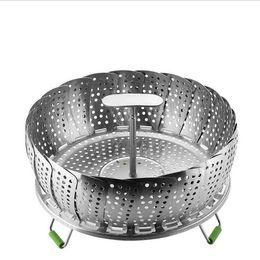 Stainless Steel Steaming Basket New Folding Mesh Food Vegetable Egg Dish Basket Cooker Steamer Expandable Pannen Kitchen Tool XHCFYZ105 on Sale
