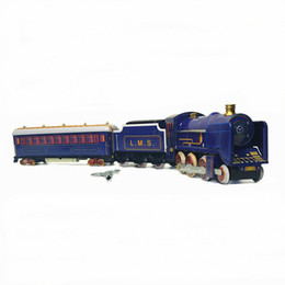 vintage clockwork toys Canada - [Funny] Adult Collection Retro Wind up toy Metal Tin moving Vintage Rail train model Mechanical Clockwork toy figures kids gift