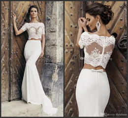 $enCountryForm.capitalKeyWord Australia - 2019 Chic Crop Top Mermaid Wedding Dresses Illusion Bodice Short Sleeves Two Piece Wedding Dresses Vintage Beach Bridal Dresses With Jacket