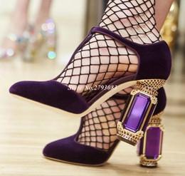 jewel heels 2019 - Retro Purple Velvet T-strap Pumps Women Shoes Crystal Jewels High Heels Wedding Shoes Bride Cut-out Rhinestone Square He