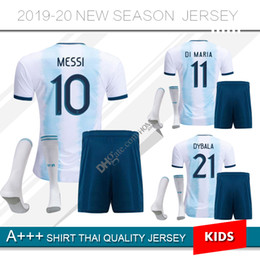 Wholesale 2019 Argentina soccer Jersey Kids Kit MESSI home Soccer Jerseys Child Aguero Di Maria Dybala away Soccer jersey shorts