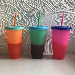 $enCountryForm.capitalKeyWord Australia - Plastic Detachable Cup Change Color Pages Water Bottles Insulated Tumblers Heat Protection Portable Water Cup With Straw 5colors RRA1751