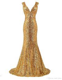 $enCountryForm.capitalKeyWord Australia - 2017 Elegant Gold Sequined Prom Dress Mermaid Deep V Neck Sweep Train Celebrity Formal Evening Gowns SP122