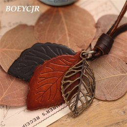 Pendants Strings Australia - dhgate Vintage Leather Alloy Leaf Pendant Necklace Rope Chain Ethnic Jewelry Pendant Necklace for Women Gift 2018