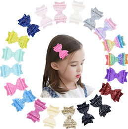 $enCountryForm.capitalKeyWord UK - Sequins Angle Wing Hair Clip 40 Styles Girls Glitter Sparkly Hair Bow Hairpin Children Kids Barrettes 500pcs OOA6629