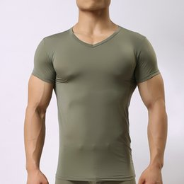 men s sexy ice silk NZ - 2017 New Fashion Sexy Ultra-thin Sheer Man Fitness Polyester Undershirts Gay Ice Silk V-neck Transparent Shirts Size S M L XL