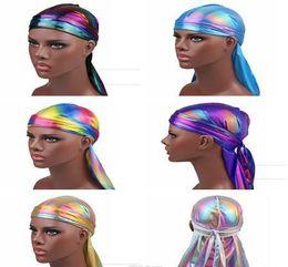 Novelty Hair Hats Wholesale Australia - Fashion Men's Sparkly Silk Bandana Headwear colorful Men du rag Wigs Turban Doo Rag Headband Pirate Hat Hair