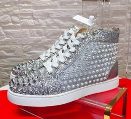 Spiked SoleS online shopping - High Quality Spikes Top Red Bottoms Orlato Pik Studded Sneakers Women Men Luxury Designer Boots Flat Casual Red Sole Autumn Winter Shoes