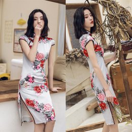 9b102a4f56 Vintage flower saten Chinese dress oriental style clothing 2019 vestido  cheongsam qipao women tradicional robe plus size S-XXXL