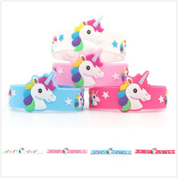 Pattern Decor Australia - New Wonderful PVC Unicorn Patterns Wristband Silicone Jelly Bracelet Jewelry Lovely Kids Gift Decor Free Shipping