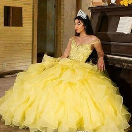 Yellow Coral Beads NZ - Glamorous Yellow Off the Shoulder Quinceanera Dresses Appliques Bead Sequined Tiered Skirt Pageant Dress Organza Puffy Skirt Prom Gowns