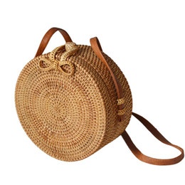 Rattan Round NZ - Hand-woven Round Rattan Bag Natural Crossbody Bag Fashionable Beach Straw Braided Bags For Women Size 20*10cm