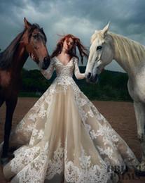 $enCountryForm.capitalKeyWord Australia - 2019 Saudi Arabia Turkey Pakistan sexy long sleeves Champagne lace wedding dresses saiid kobeisy bridal v-neck embellishment wedding gowns