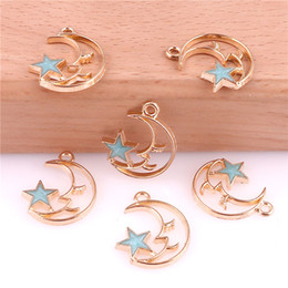 Leather making accessories online shopping - 50pcs Moon Star mm Alloy Enamel Charms Jewelry Making Drop Oil Pendant DIY fit Earring Bracelet Necklace Fashion Accessory