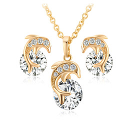 $enCountryForm.capitalKeyWord Australia - Gold Plated Necklace Earrings Jewelry Set Fashion Dolphin Pendant Charms Cubic Zircon Zirconia Diamond Stud Earring Set for Women Girls Lady
