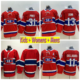 Boys Red Yellow Shirt Canada - 2019 Youth Montreal Canadiens Hockey Jerseys 31 Carey Price 11 Brendan Gallagher 13 Max Domi Kids Boys Mens Womens Home Red Stitched Shirts