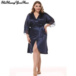 0585e57bc La mitad de la manga túnica de las mujeres más el tamaño de pijama sexy vestido  de noche camisones camisón camisón ropa de dormir ropa de dormir camisón de  ...