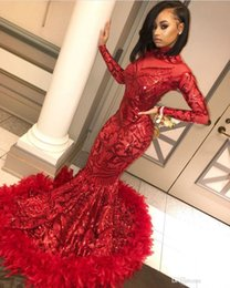 Red Feather Mermaid Evening Dresses 2019 High Neck Long Sleeves Full Lace See Though Formal Prom Party Dresses DE003 on Sale