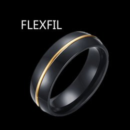 black stainless steel engagement rings NZ - FLEXFIL trendy Wedding Band stainless steel Ring black Gold groove Engagement Tungsten Rings Mens Anniversary Party Ring Matte