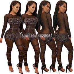 see through jumpsuit romper NZ - 2019 Sexy black Sheer Jumpsuit transparent mesh Romper Women Long Sleeve See Through Sequined Nightclub Party Bodycon Overalls