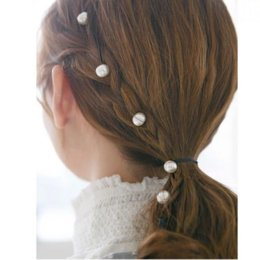 wigs fairy Australia - Pearl Beaded Invisible Hair Clips Braided Love Hair Rope Fairy Hairpin Wig Piece Girl Heart
