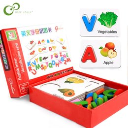 wooden educational fruit NZ - Wooden Early Education Baby Learning Abc Alphabet Letter Cards Cognitive Educational Toys For Kids Fruit Vegetable Puzzle Gyh Q190530