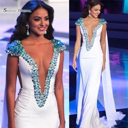 $enCountryForm.capitalKeyWord Australia - Miss World 2019 Pageant Evening Gowns White Sheath Satin Beads With Sleeves Plunging V-Neck Prom Gowns Formal Occasion Dresses