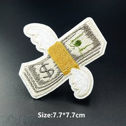 Wholesale garment apparel clothes for sale - Group buy Fly Away Money Size x7 cm Cartoon Patch Badge Embroidered Applique Sewing Clothes Garment Apparel Accessories