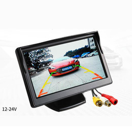 Discount car video screen for rear - 5'' Monitor TFT LCD Color Screen 2 Video Inputs 2 Brackets For Rear View Backup Reverse Camera DVD Car Rear Vi