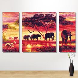 $enCountryForm.capitalKeyWord Australia - Full round drill Diamond Embroidery Elephant group 5D DIY Diamond Painting Sunset scenery Mosaic Cross Stitch Multi-pictures