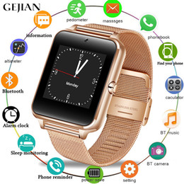 Discount thinnest smart watches - GEJIAN ultra-thin smart watch men's women's metal strap smart watch support 2G SIM TF card multi-language for