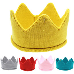 $enCountryForm.capitalKeyWord Australia - Baby Knit Crown Tiara Kids Infant Crochet Headbands cap hat birthday party Photography props Free shipping
