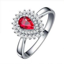 $enCountryForm.capitalKeyWord Australia - 925 Sterling Silver Lab-create Ruby Open Ring Pear Facted Cut Prong Setting Red Gemstone Engagement Rings for Women July Birthstone