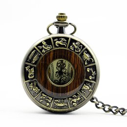 Wholesale Vintage Wood Pocket Skeleton Steampunk pieces Mechanical Pocket Watch Roman Numerals Pendant Unisex Fob Watch PJX1107