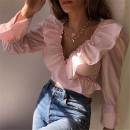 Wholesale peplum tops online – Fashion Women Ruffle V Neck Crop Top Long Flare Sleeve Blouse Fashion Solid Tops