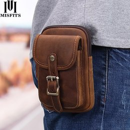 travel bum bags leather Canada - Quenya genuine leather waist packs men vintage travel fanny pack with passport holder belt phone bag for Man small hook bum bag