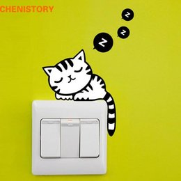 $enCountryForm.capitalKeyWord Australia - DIY Sleeping Cat Switch Stickers Carton Switch Cover Protected Wall Stickers Removable Vinyl Decals For Home Decor