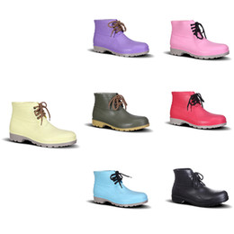 pink rain boots Australia - Discount 2020 No-Brand Design Rain Boots Low Labor Insurance Shoes Steel Toe Cap Black Yellow Pink Red Purple Dark Green Men Shoes 38-44