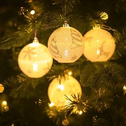 Snowing chriStmaS tree lightS online shopping - Christmas Lighting Ball Pendant Snow Flower Tree Printted Glowing Christmas Tree Hanging with Lights Home Room Decoration HHA1009